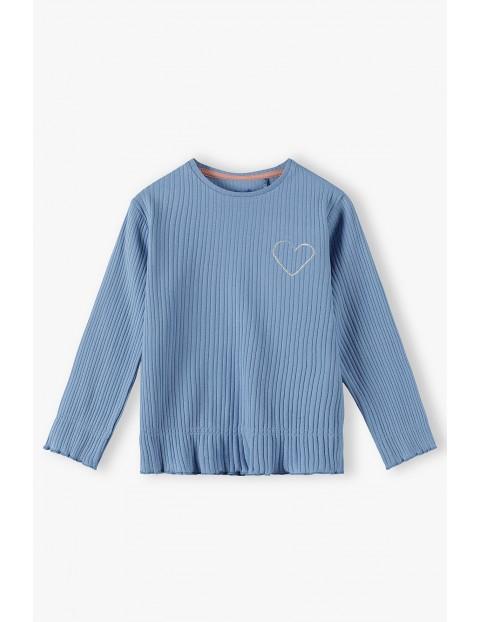 Niebieska bluzka dziewczęca w prążki z serduszkiem