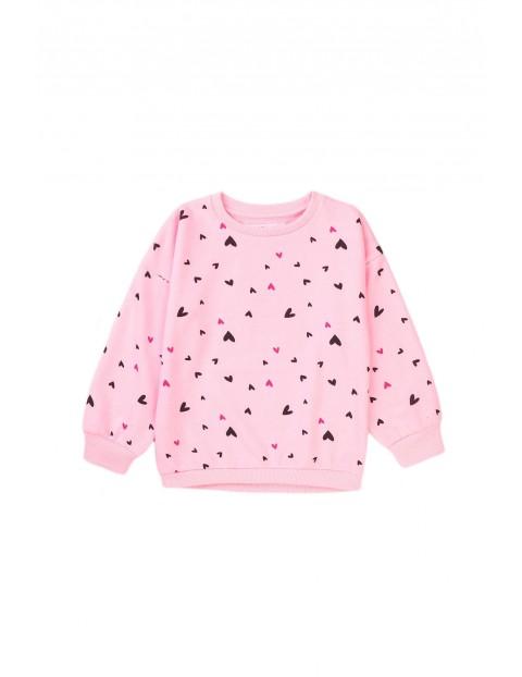 Bluza dziewczęca różowa w serduszka