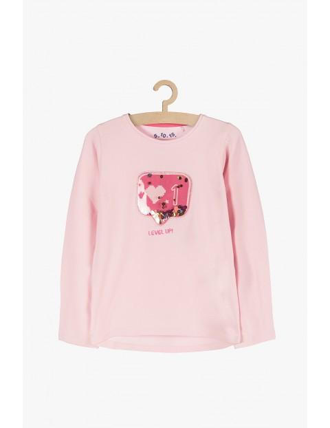 Różowa bluzka z długim rękawe- aplikacja 3D
