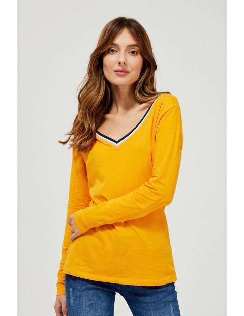 Bluzka damska z długim rękawem w musztardowym kolorze