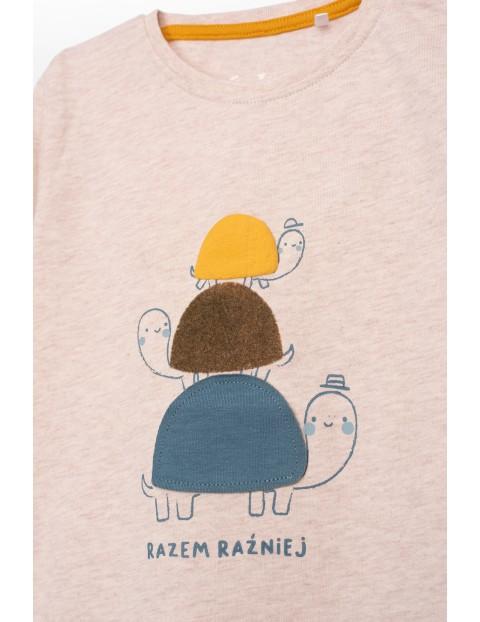 Bluzka niemowlęca z długim rękawem i polskim napisem- Razem raźniej
