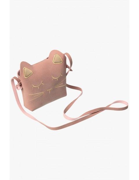 Rożowa torebka na ramię- kotek