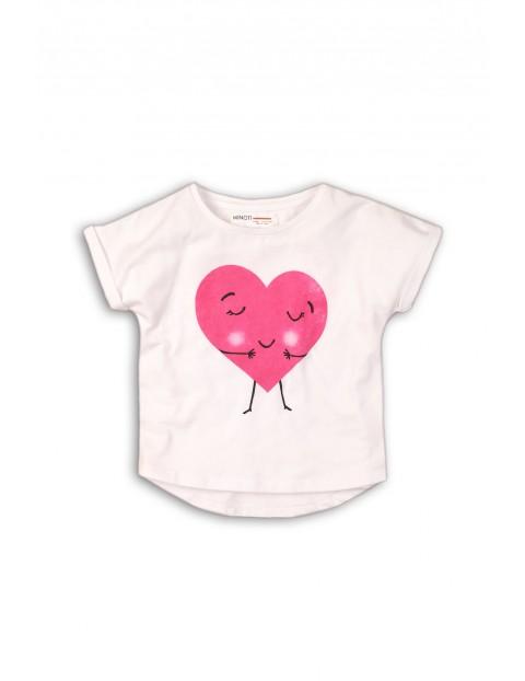 Biały t-shirt z sercem dla dziewczynki