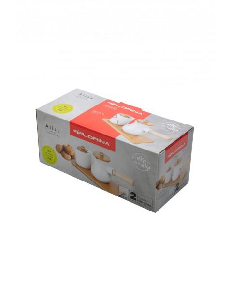 Komplet cukiernica i mlecznik Alisa w kolorze białym 24x10 cm