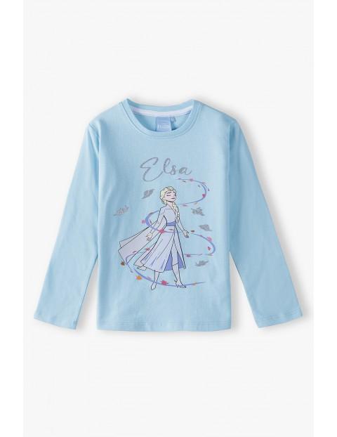 Bluzka dziewczęca bawełniana niebieska  FROZEN - Elsa