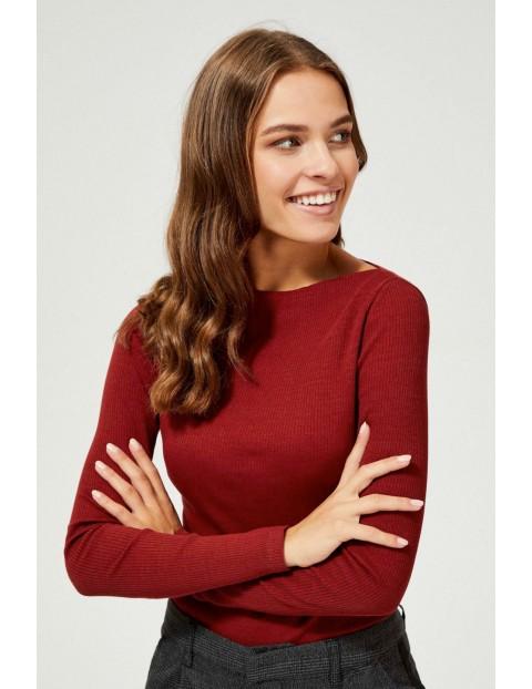 Brązowa bawełniana bluzka damska z prążkowanej tkaniny z długim rękawem