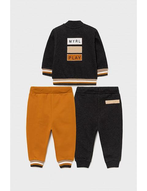 Zestaw dresowy dla chłopca - bluza z nadrukiem i 2 szt spodnie z troczkiem