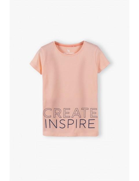Bawełniany T- shirt dziewczęcy Create Inspire - różowy