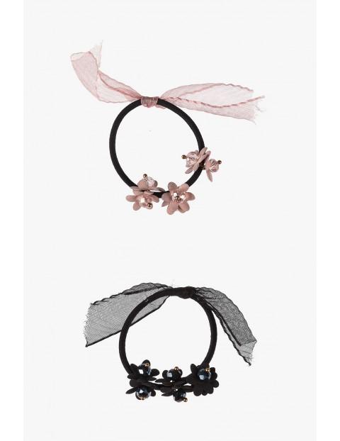 Gumki do włosów z kwiatkami - czarna i różowa