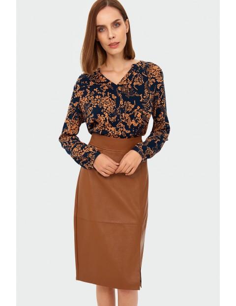 Bluzka damska z wiskozy  w pomarańczowe wzory