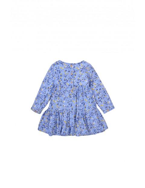 Sukienka dziewczęca niebieska w kwiaty z wiskozy