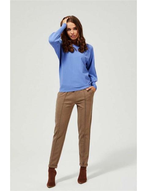 Luźny sweter z bufiastymi rękawami -  niebieski