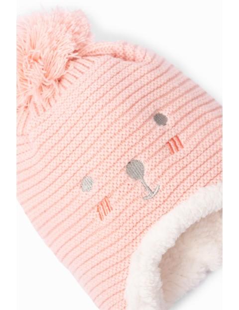 Czapka zimowa dziewczęca z pomponem - różowa