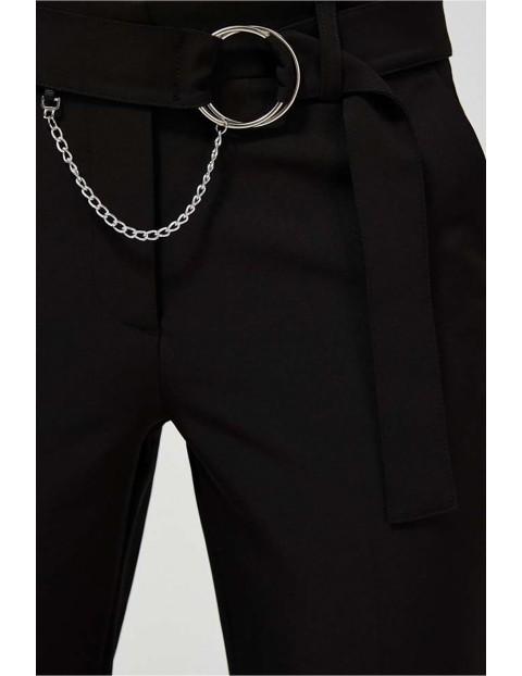 Spodnie damskie czarne z ozdobnym paskiem