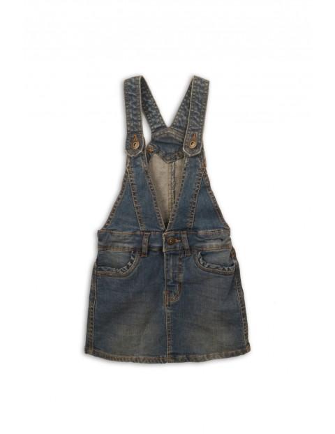 Spódnica dziecięca jeansowa na szelkach