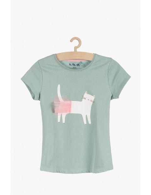 T-shirt dziewczęcy z kolorowym nadrukiem