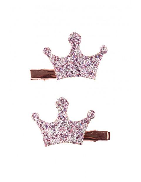 Spinki do włosów- różowe korony