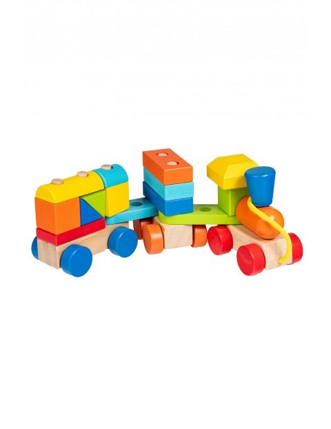 Drewniana zabawka pociąg z klockami Smily Play wiek 18msc+