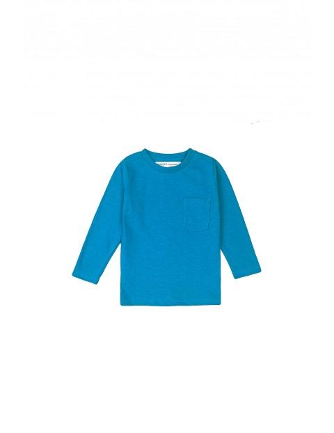 Bluzka niemowlęca bawełniana z kieszonką-niebieska