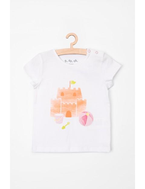 T-Shirt niemowlęcy biały z nadrukiem- 100% bawełna