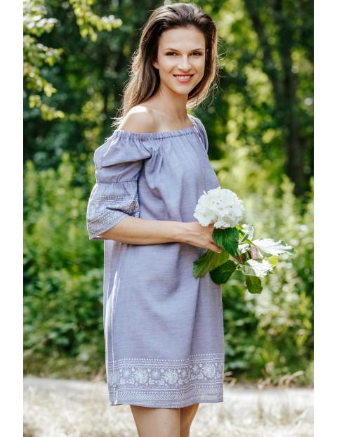 Krótka sukienka z rękawami 3/4- niebieska