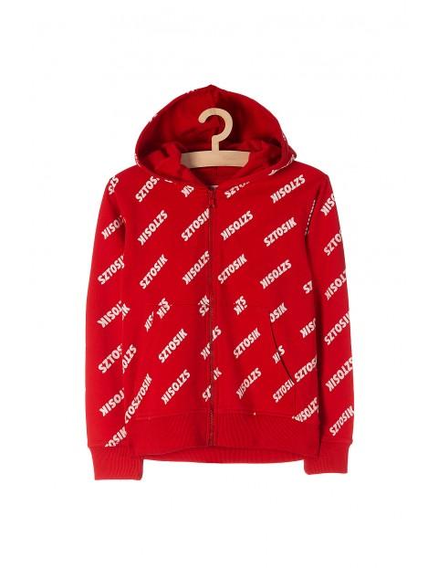 Bluza chłopięca rozpinana czerwona z napisem-Sztosik