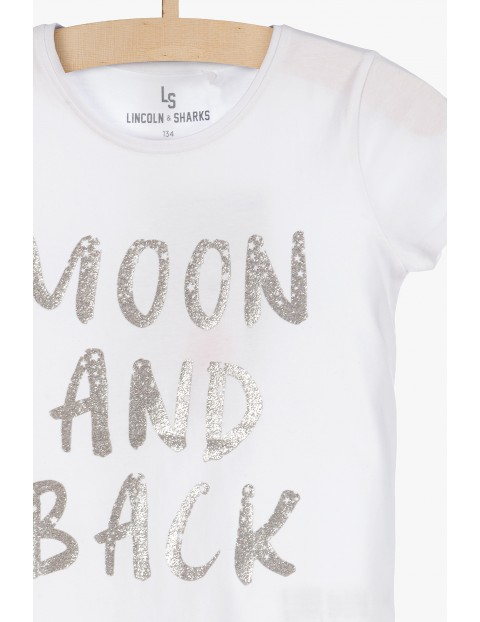 T-shirt ze srebrnym napisem Moon and back