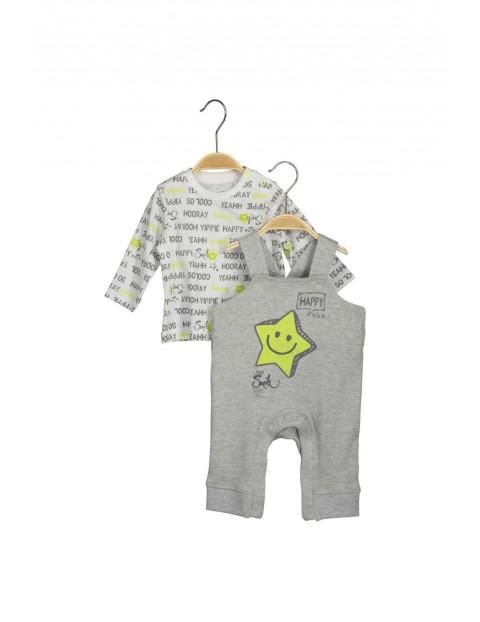 Komplet niemowlęcy bluzka i ogrodniczki