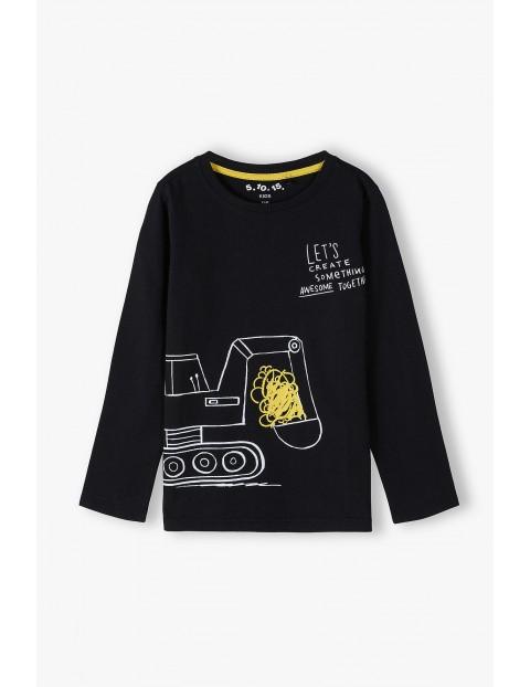Bawełniana bluzka chłopięca w kolorze czarnym z koparką