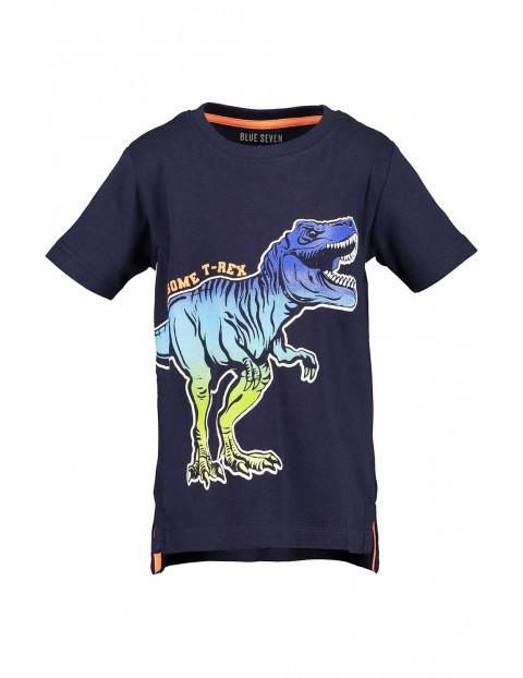 Koszulka chłopięca granatowa z dinozaurem