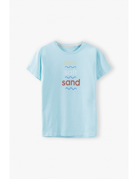T- shirt dziewczęcy z napisem Sun Salt Sand - niebieski