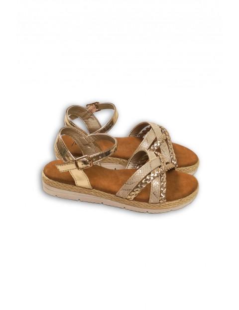 Złote sandały dziewczęce
