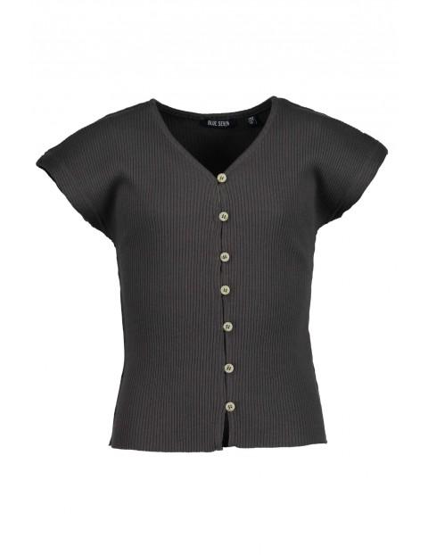 Koszulka dziewczęca czarna w prążki z guzikami