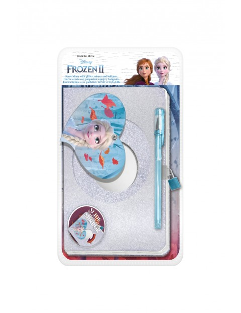 Pamiętnik  z motywem Frozen oraz lusterkiem i długopisem
