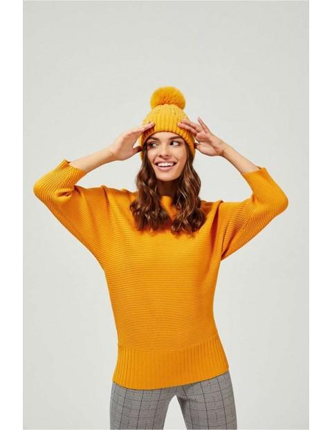 Czapka damska zimowa z perełkami - żółta