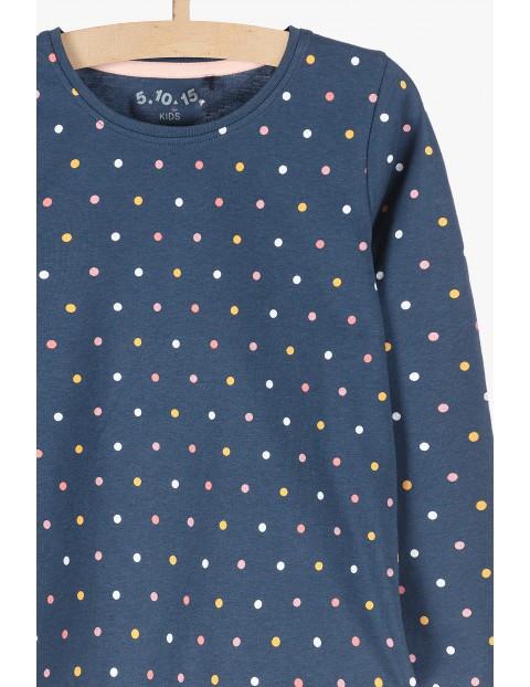 Granatowa bluzka w kolorowe kropki- długi rękaw
