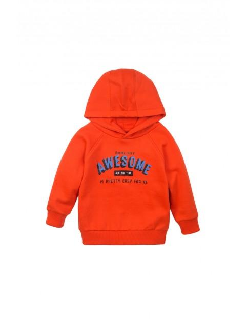 Bluza dresowa chłopięca pomarańczowa z kapturem