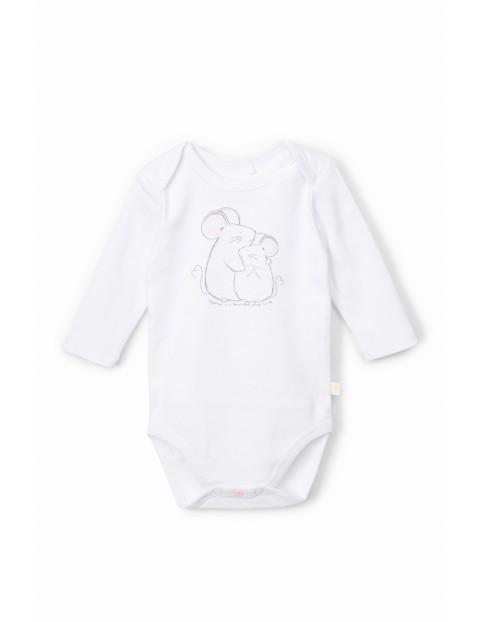 Body niemowlęce z myszkami  i  z długim rękawem - białe