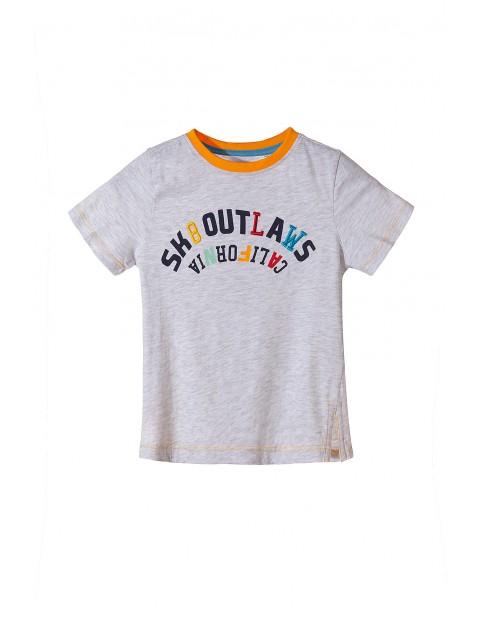 Koszulka chłopięca szara z kolorowym napisem