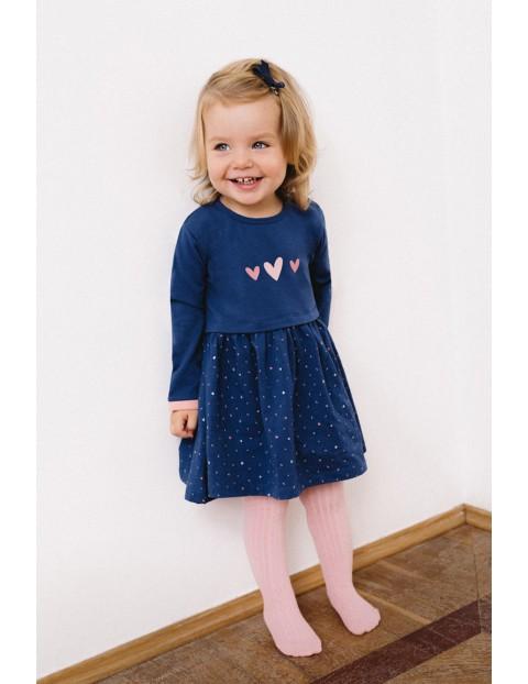 Dresowa sukienka dla dziewczynki- niebieska z długim rękawem
