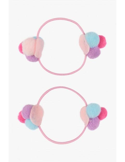 Ozdoby do włosów- gumki z pomponami