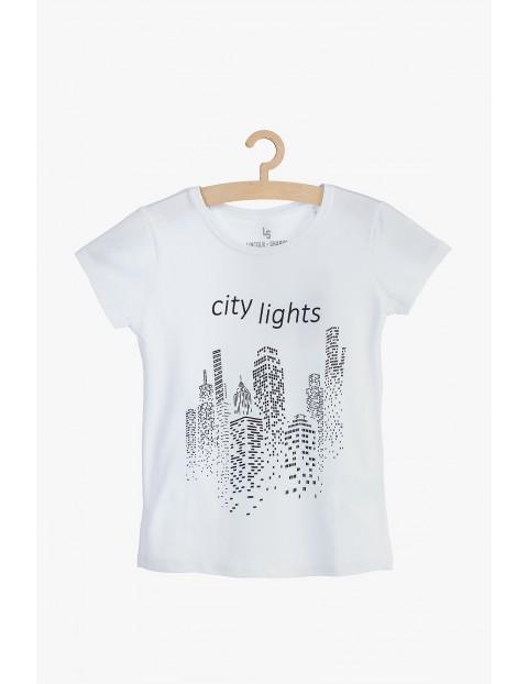 Bawełniany t-shirt dla dziewczynki- City lights