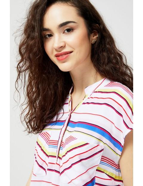 Koszula damska biała w kolorowe paski