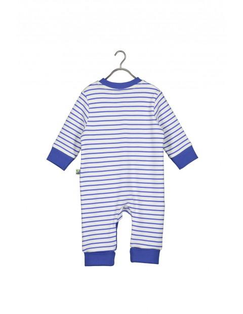 Bawełniany pajac niemowlęcy w biało- niebieskie paski