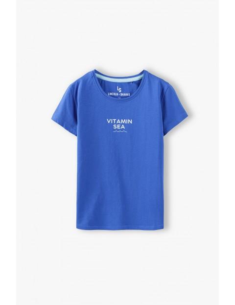 T- shirt dziewczęcy z napisem Vitamin Sea - niebieski