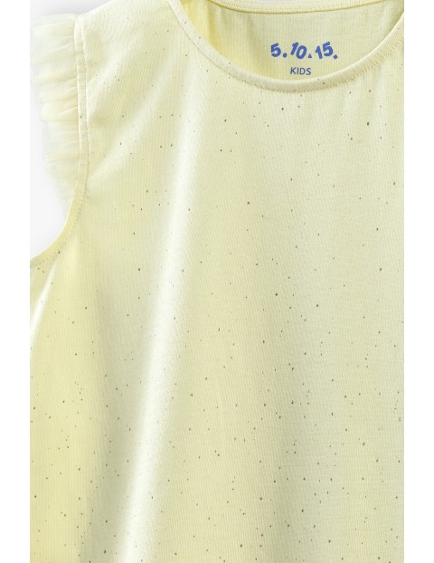 Bluzka dziewczęca z falbankami - zółta
