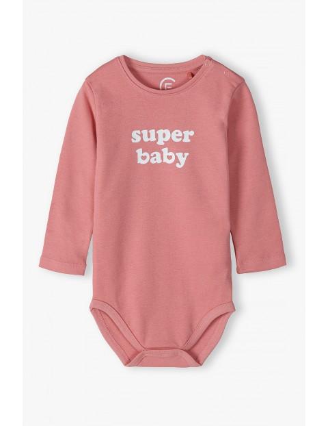 Body bawełniane różowe - Super baby