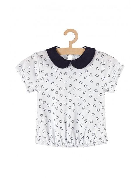 Koszulka dziewczęca biała w serduszka