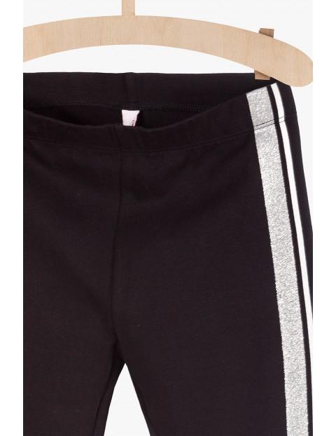 Spodnie chłopięce z lampasem - czarne