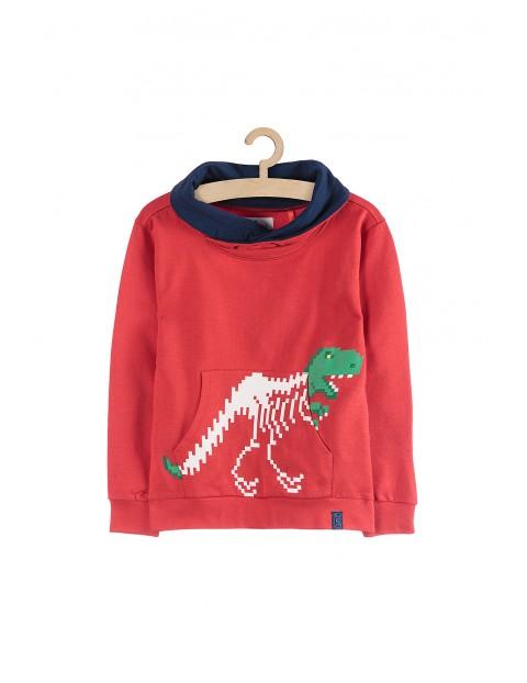 Bluza dresowa z dinozaurem-czerwona